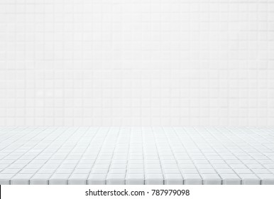 White ceramic mosaic table top and wall background - can used for display or montage your products.