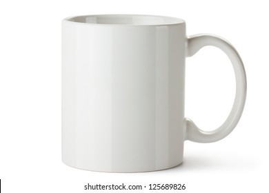 White ceramic mug. Isolated on a white.