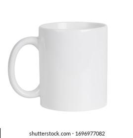 White ceramic mug isolated on whitebackground