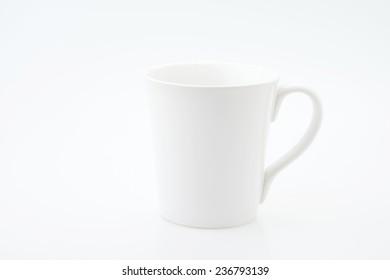 White ceramic mug isolated on white background