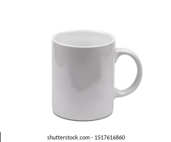 White ceramic mug on a white background.  Harvesting.  Isolated object. White cup.