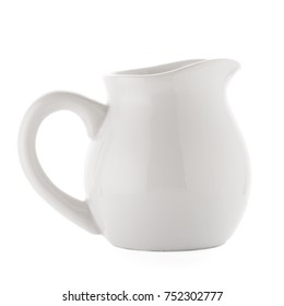 White ceramic pitcher isolated on white background.