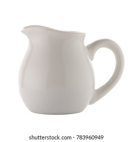 White ceramic pitcher isolated on white background.