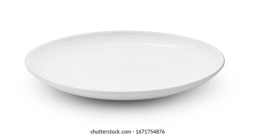 white ceramic plate isolated on white background - Shutterstock ID 1671754876