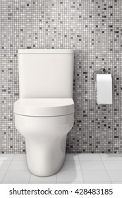 White Ceramic Toilet Bowl in front of Tiles Wall. 3d Rendering