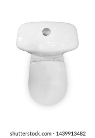 White ceramic toilet. Close the lid. The view from the top. Close up. Isolated on white background.