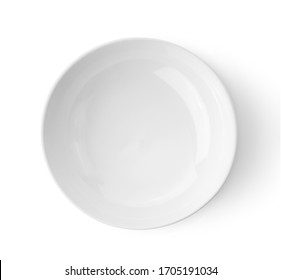 white ceramics bowl isolated on white background top view