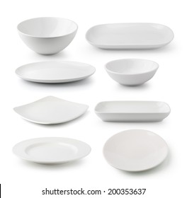white ceramics plate and bowl isolated on white background