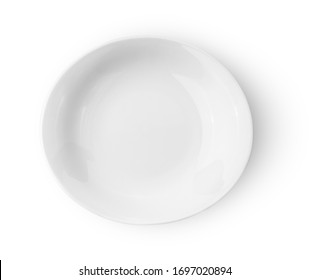 white ceramics plate isolated on white background top view