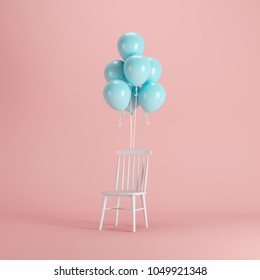 White Chair With Blue Balloons Floating On Pink Background. Minimal Party  Concept Idea.