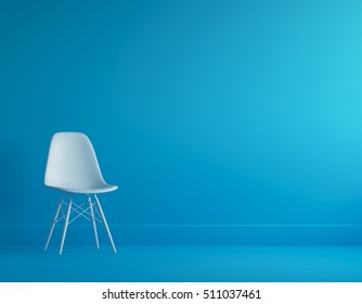 White chair in blue pastel room for copy space.