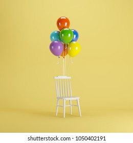 White chair with Colorful balloons floating on yellow background. minimal party concept idea.