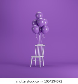 White chair with Violet balloons floating on violet color background. minimal party concept idea.