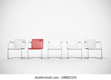 White chairs and a red chair in a waiting room (3D Rendering)