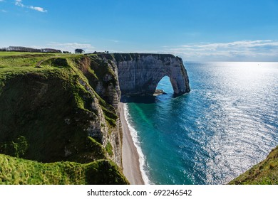 White Chalk Cliffs of Etretat, Normandy (France)