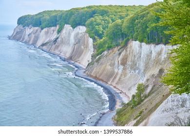 White chalk cliffs in Jasmund National Park, Rugen Island, Germany