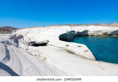 White chalk cliffs in Sarakiniko, Milos island, Cyclades, Greece.