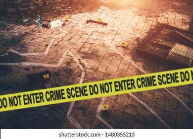 White chalk outline of killed body, blood an floor and yellow police caution tape with text - crime scene, do not enter. Murder investigation concept, toned