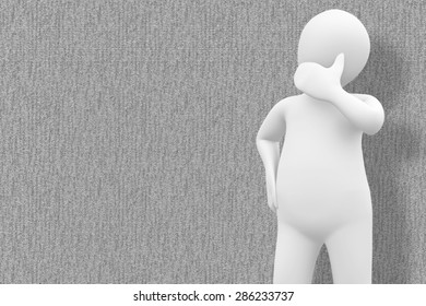 White character thinking against grey background