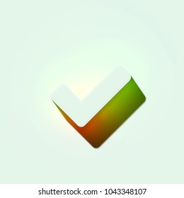 White Check Icon. 3D Illustration of White Browser, Check, Checkbox, Ok, Tick Icons With Orange and Green Gradient Shadows.