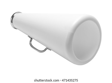 White Cheer Megaphone Cut Out Isolated on White Background.