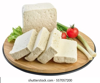 White cheese on wooden board,clipping path.