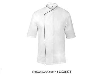 White chef cook's jacket with black edges short-sleeved on an invisible dummy, isolated over white background