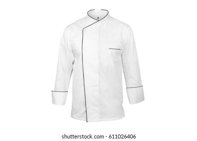 White chef cook's jacket with black edges on an invisible dummy, isolated over white background