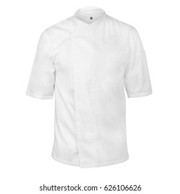 White chef cook's jacket on an invisible dummy, isolated over white background.