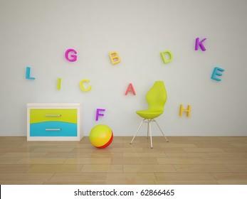white children interior composition