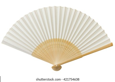 White Chinese fan isolated on white background.