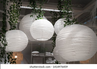White Chinese paper lanterns, for a party