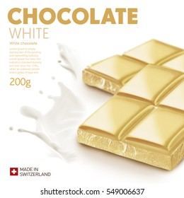 White chocolate bar on white background.Ready for package design. Glossy.