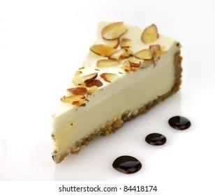 white chocolate cheesecake slice