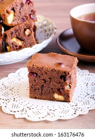 White chocolate and cranberry brownie