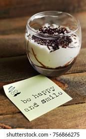 White chocolate dessert on wood