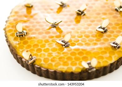 White chocolate lemon honey tart on a white background.