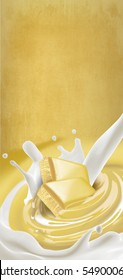 White chocolate melted in cream with milk on background with splash. Ready for package design. Vertical motive. Tasty.