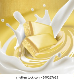 White chocolate melted in cream with milk on background with splash. Ready for package design.Tasty.