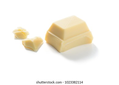 WHITE CHOCOLATE PIECE isolated on a white background