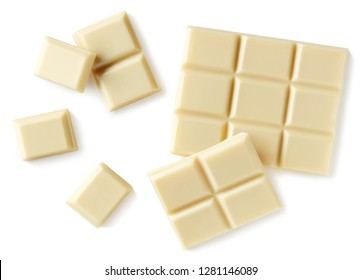 White chocolate pieces isolated on white background. Top view