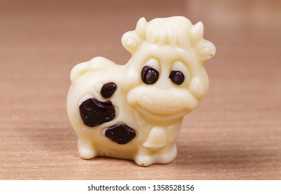White chocolate in the shape of a cow for easter