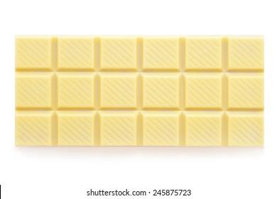 white chocolate tablet on white