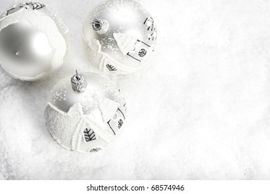 White christmas ball in snow