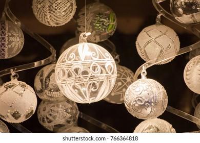 White Christmas globes on dark background