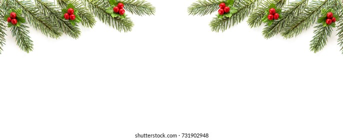 White Christmas and New Year holiday banner background top view border design with green pine, mistletoe, red berries and copy space