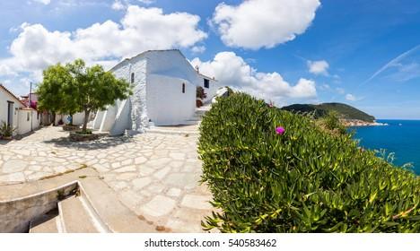 A white church by the sea