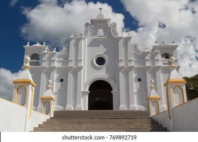 White church in the centre of Apaneca town, El Salvador
