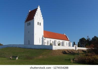 White church of Fanefjord at the Danish Island Moen