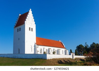 white church of Fanefjord at the Danish Island Moen